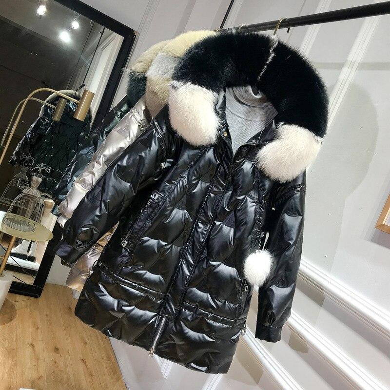 Winter Duck Down Jacket Women Hooded Big Fox Fur Collar Puffer Down Coat Korean Shiny Womens Down Jackets 2020 KJ3721 2