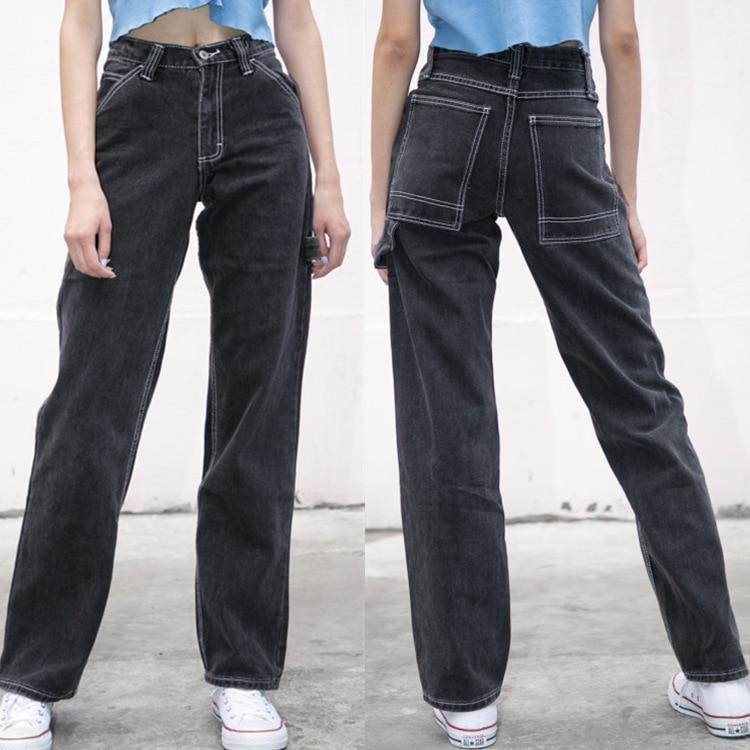 Jeans Women Loose Pants High Waist Pants Brandy Melville Women Straight Pipe Jeans Denim Pants Trousers Stretch Jeans Dropship 1