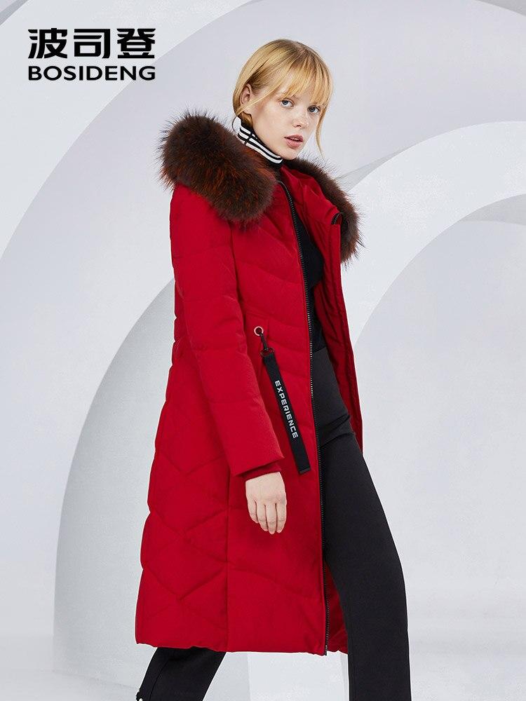 BOSIDENG X-Long winter coat women down jacket 90% duck down thicken outwear natural fur raccoon fur waterproof B80141046 1