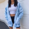 Y2K Tie Dye Print Hooded Women Jacket Summer Zipper Drawstring Sweatshirt Loose Fashion Sweetwear Pockets Thin Coats Crop Tops