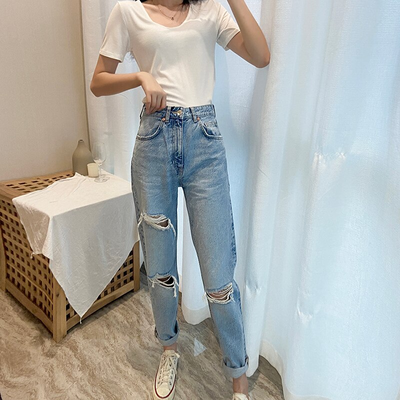 Za Women Jeans 2020 New High Street Fashion with High Waist Hollow Out Vintage Jeans Blue Long Denim Straight Pants For Women 2
