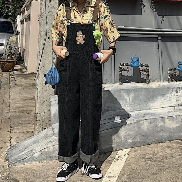 Vintage Denim Jumpsuit Loose High Waist Big Pocket