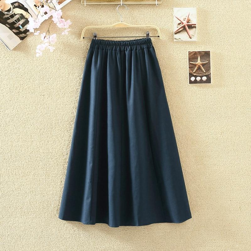 2019 Summer Women Long Skirts Vintage Cotton And Linen High Waist Women Skirts Saia Summer Skirt Womens Jupe Femme Saias Faldas 3