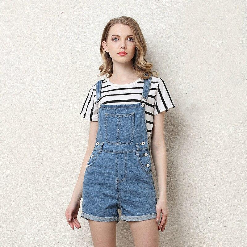 QMGOOD Summer Women Denim Overalls Fashion Playsuit Dungarees High Waist Jumpsuit Girls Short Jeans Blue Shorts Jumpsuits Female