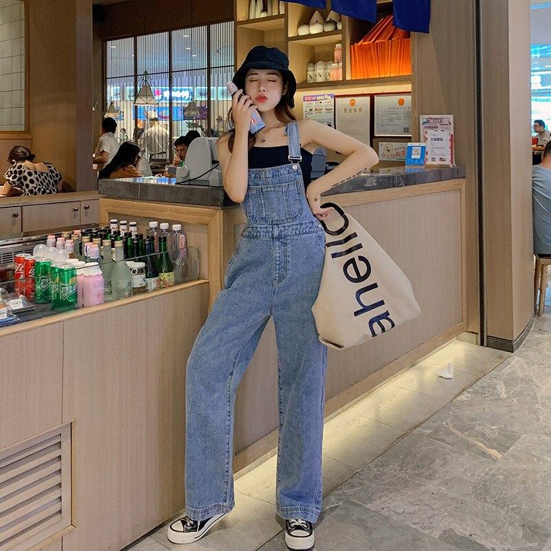Ripped Jeans For Women Wide-Leg Overalls Pants With Shoulders Straps Korean-style High-waisted Loose Mopping Pants Denim Jumper 4
