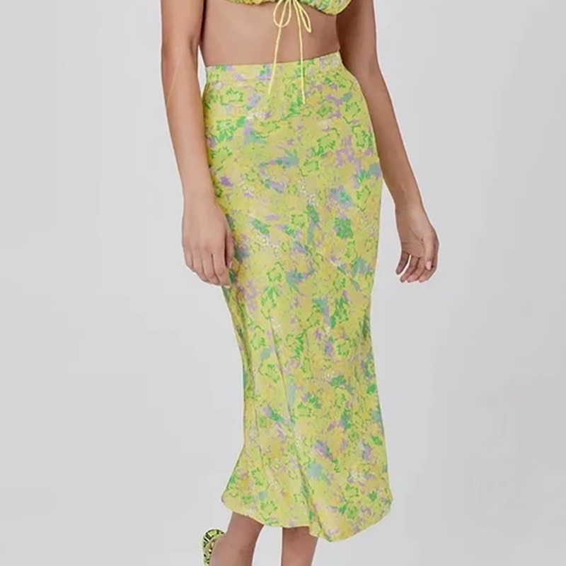 chic lady a-line fashion floral print yellow summer women long skirt 2020 vintage floral print elastic high waist skirts femme 1