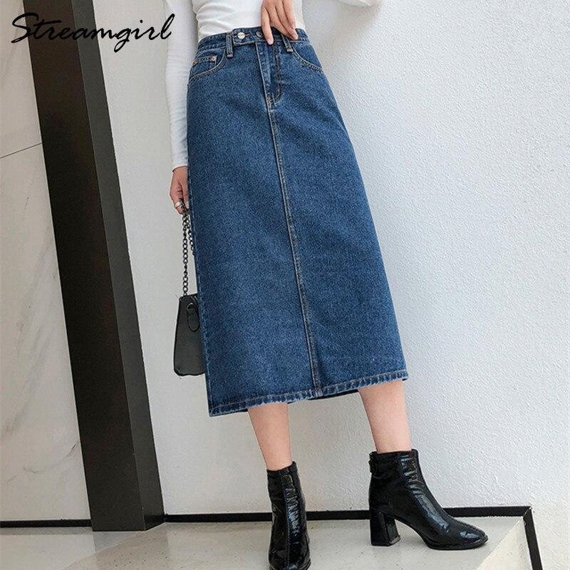 Women Skirt Denim Long Slim Jeans 2019 Autumn Vintage Skirts For Women Long Skirts Jeans Woman Maxi Plus Size Skirt High Waist