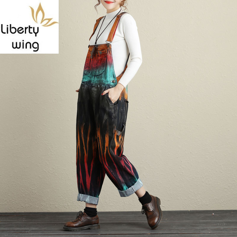 New Autumn Washed Vintage Jeans Strapless Playsuits Painted Rompers Womens Jumpsuit Drop Crotch Wide Leg Trousers Female 2