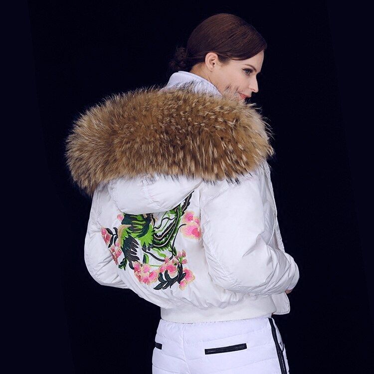 2017 Winter Jacket Women down jackets Women's short embroidery downs coat large Raccoon fur Hood baseball both sides outerwear 1