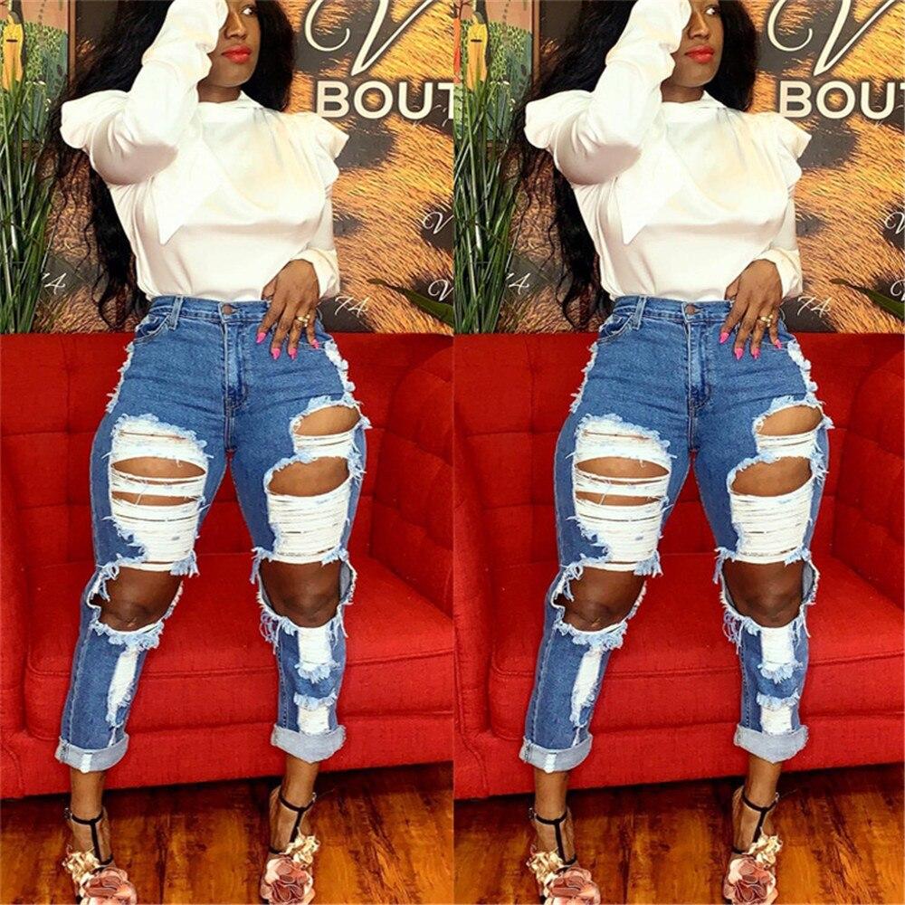 Women's high waist jeans hot sale women's ripped jeans fashion slim trousers women's straight jeans tassels women's casual jeans 2