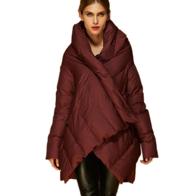 2020 New Fashion Women's Down Jacket Cloaks European Designer Asymmetric Length Winter Coat Female Parkas plus size outwear 3