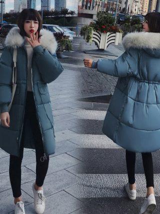 Ladies's Down Jacket Fur Hooded Thicken Zipper