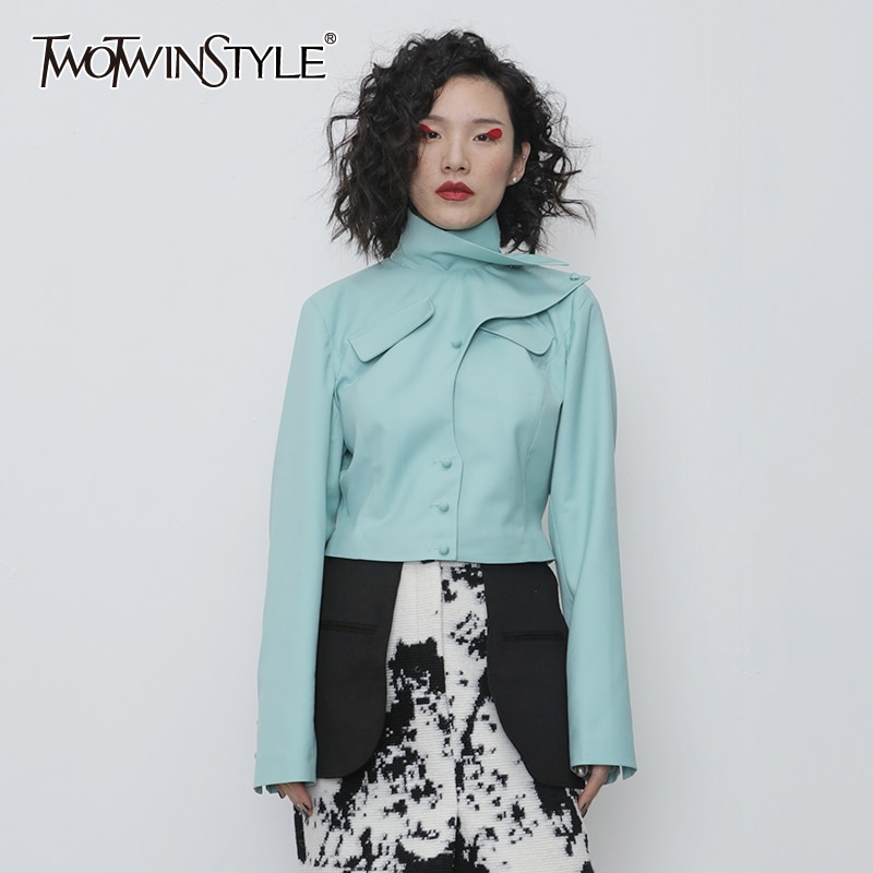 TWOTWINSTYLE Asymmetrical PU Leather Women Jacket Turtleneck Long Sleeve Slim Irregular Coat Female Fashion 2020 Spring Clothing 1