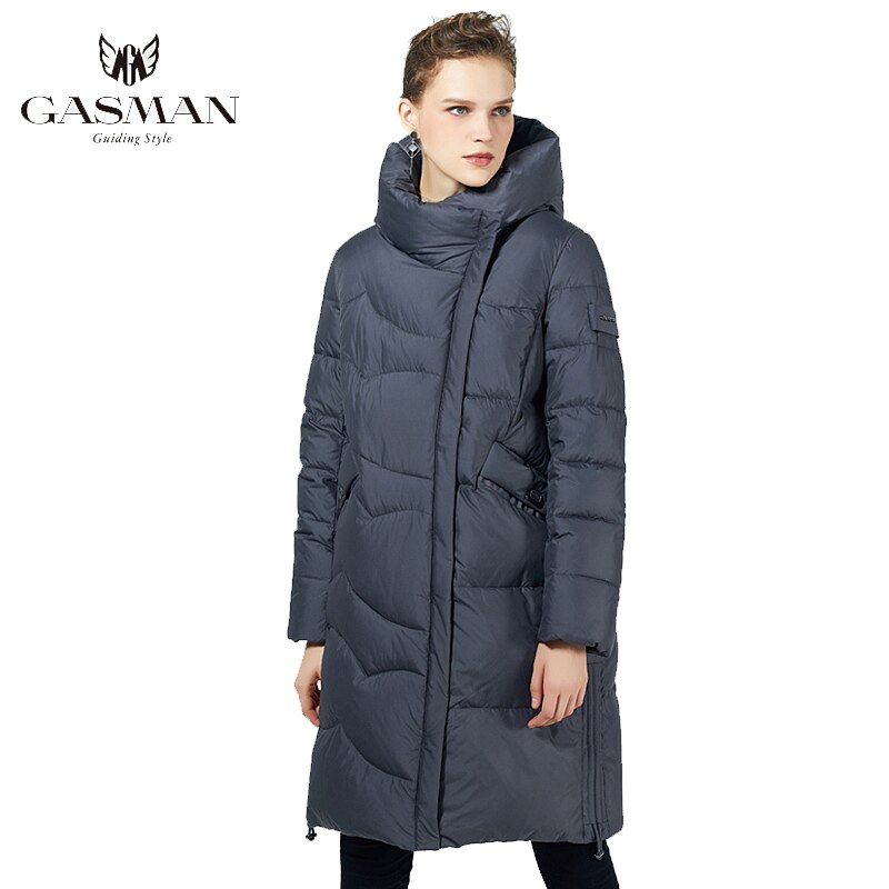 GASMAN Black Long Fashion Parka Women's Jacket Winter Hooded Coat Warm Cotton Overcoat Female Puffer Down Jacket Plus Size 19022
