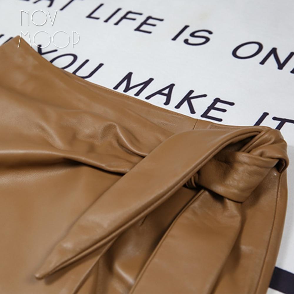 Novmoop casual style women spring high waist patchwork sheepskin genuine leather long skirt with bow decor spódniczka LT3066 3