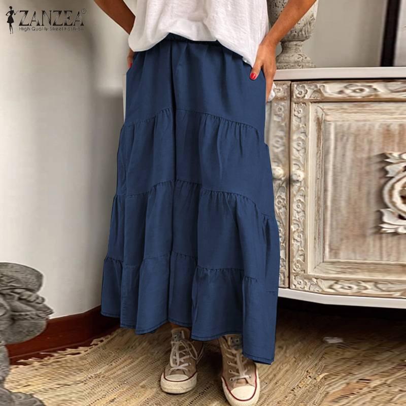 ZANZEA Women Long Skirts Vintage Ruffles High Waist Maxi Faldas Saia Casual Solid Holiday Loose Female Cake Skirt Plus Size 5XL 3