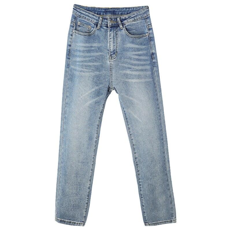 kpop Korean Celebrity same 2020 Light blue Straight jeans women slim stretch nine pants Korean streetwear high waist denim pants 3