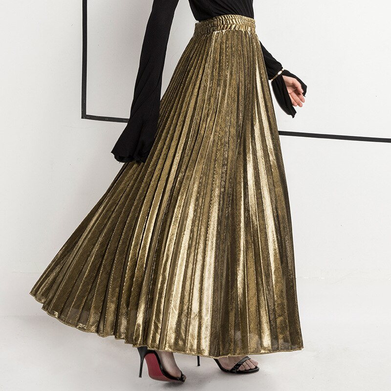 Spring Women Long Skirts Fashion Brand A-Line Women Pleated Skirts High Waist Women Midi Skirt Faldas Mujer Saias