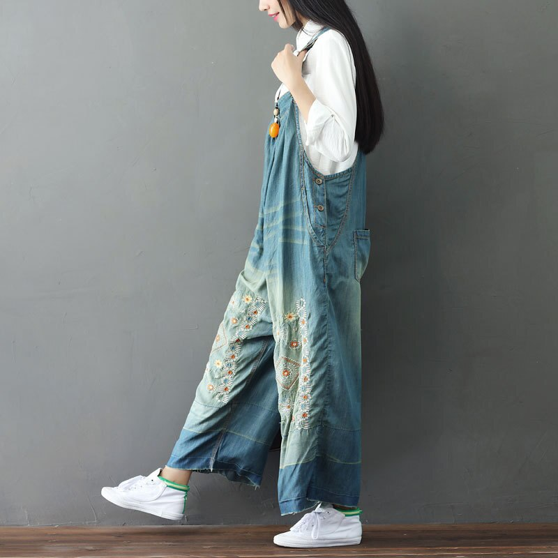 Women Suspender Jumpsuit Embroidery Denim Jeans Rompers Sleeveless Backless Vintage Baggy Dungarees Overalls Wide Leg Pants 2020 3