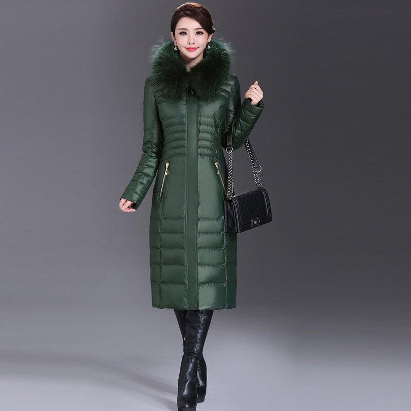 AYUNSUE 2020 Winter Duck Down Jacket Women Long Slim Coat Female Womens Down Jackets With Real Fur Collar Plus Size 5XL WYQ800 3
