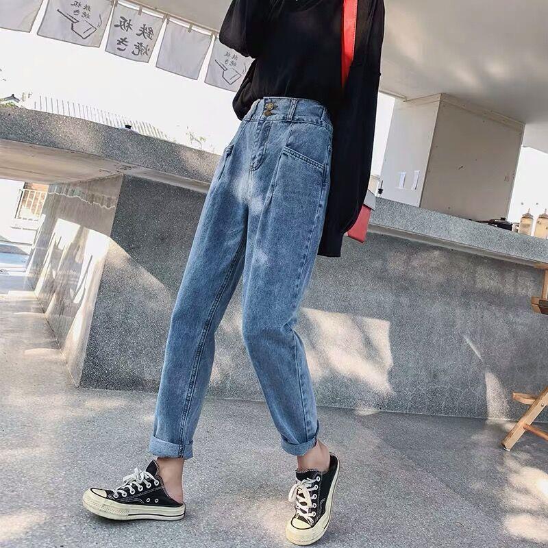 S-XL,2XL,3XL,4XL,5XL High Waist Jeans Woman plus size loose straight Jeans female elastic waist mom's denim womens (E208) 4