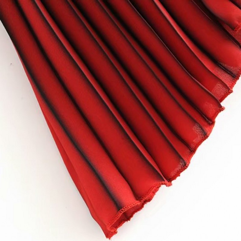 Spring Summer Women Gradient Color Pleated Skirt Elastic High Waist Long Skirt Fashion Ladies Ankle Length Skirt Streetwear 4
