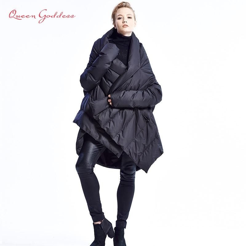2020 New Fashion Women's Down Jacket Cloaks European Designer Asymmetric Length Winter Coat Female Parkas plus size outwear 1