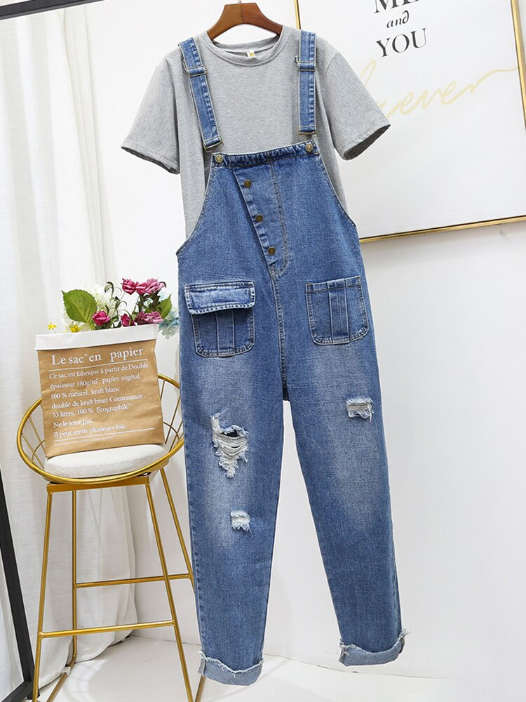 Oversized Hole Ripped Jeans Jumpsuits Women Baggy Suspenders Overalls for Women High-waisted Cotton Denim Jeans Jumpsuits 5XL 3