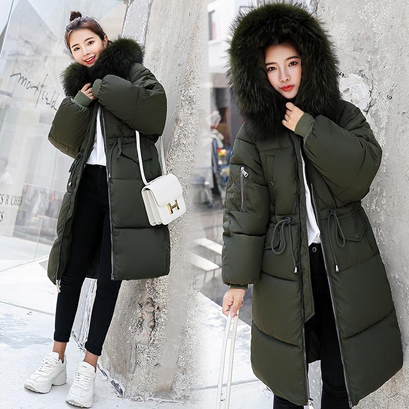Women's Down Jacket Fur Hooded Thicken Zipper Long Down Coats Women Casual Solid Long Sleeve Warm Cotton Coats Female Jackets 3