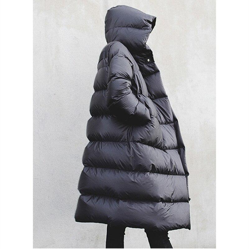 WSYORE Long Parka Women Black Down Jacket Female Winter New Dark Wind Long Down Coat Loose Hooded Warm Bread Jackets NS856 3