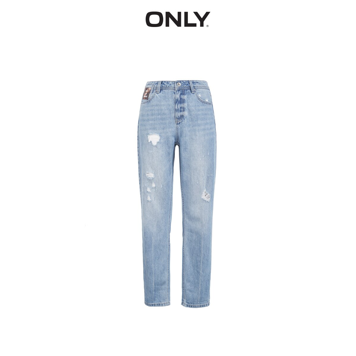 ONLY Women's Loose Straight Fit Ripped Low-rise Crop Jeans |119449517 4