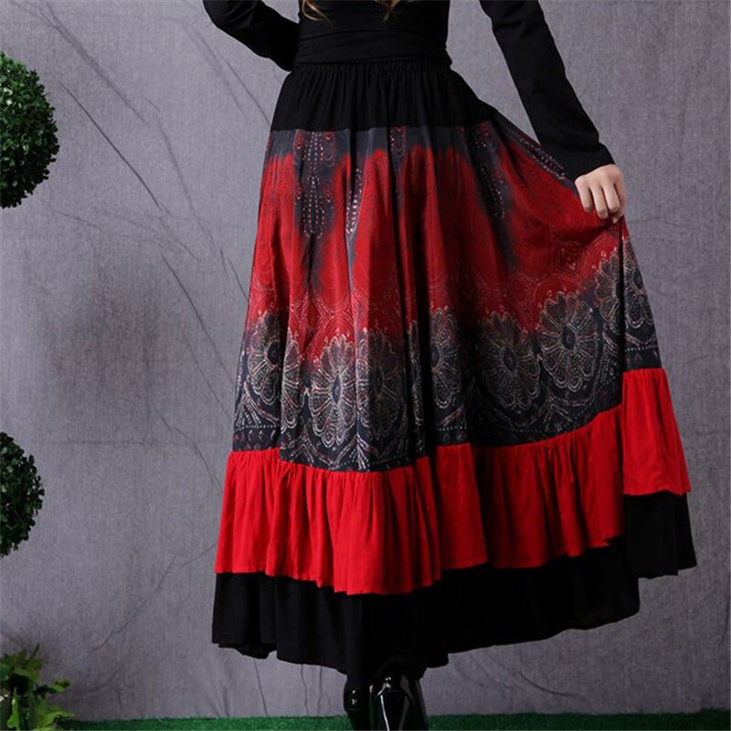 Ethnic Style Women's Long Skirt Stitching Fashion Elastic Waist Skirt Retro Large Size Dance Skirt Women Saia Mujer Faldas f2682 2