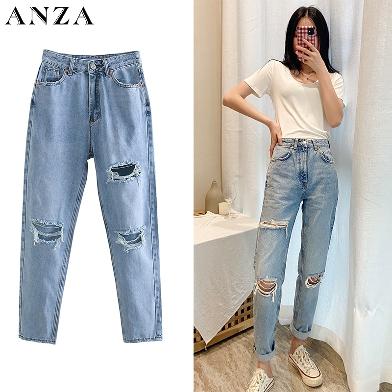 Za Women Jeans 2020 New High Street Fashion with High Waist Hollow Out Vintage Jeans Blue Long Denim Straight Pants For Women