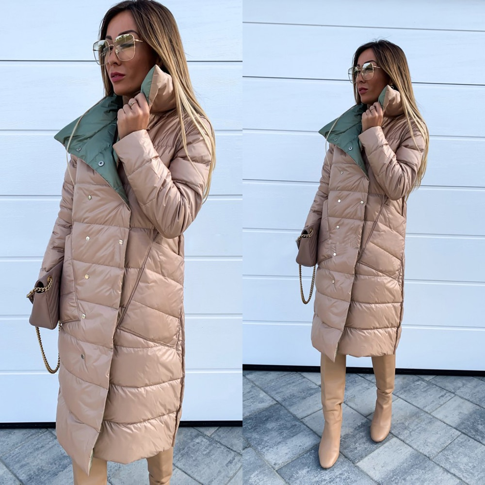 Winter Jacket Women Double-Sided Cotton Clothing Woman Jackets Winter Solid Puffer Jacket Overcoat Abrigos Mujer Invierno 2019 3