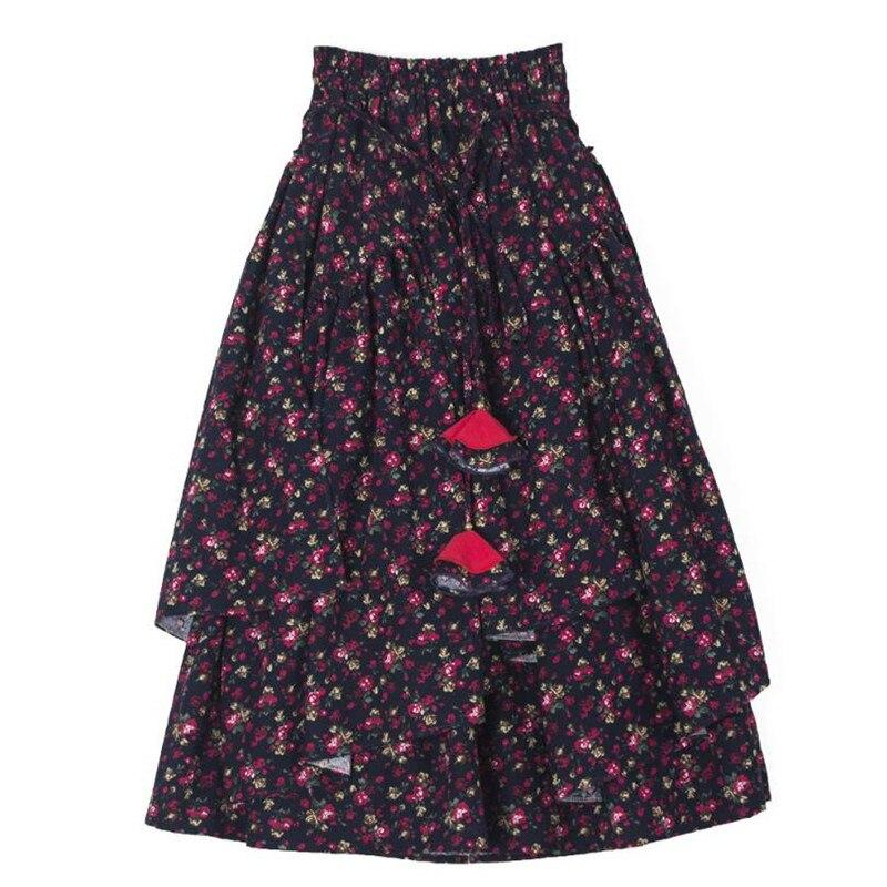 Women Ethnic style cotton linen Long Skirts Elastic Waist Floral print Maxi Skirts Vintage autumn winter Female irregular Skirts 4