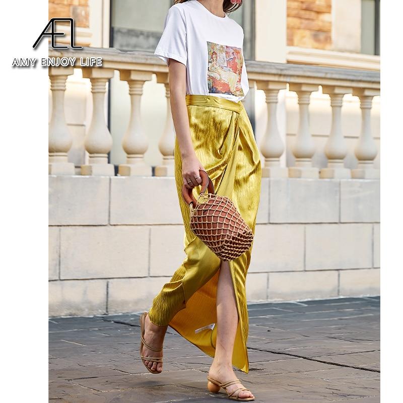 AEL Asymmetric High Split Skirt Woman Retro Long Satin Skirt Wrap Hip 2020 Summer Femme Midiskirt Elegant Slim High Waist 3
