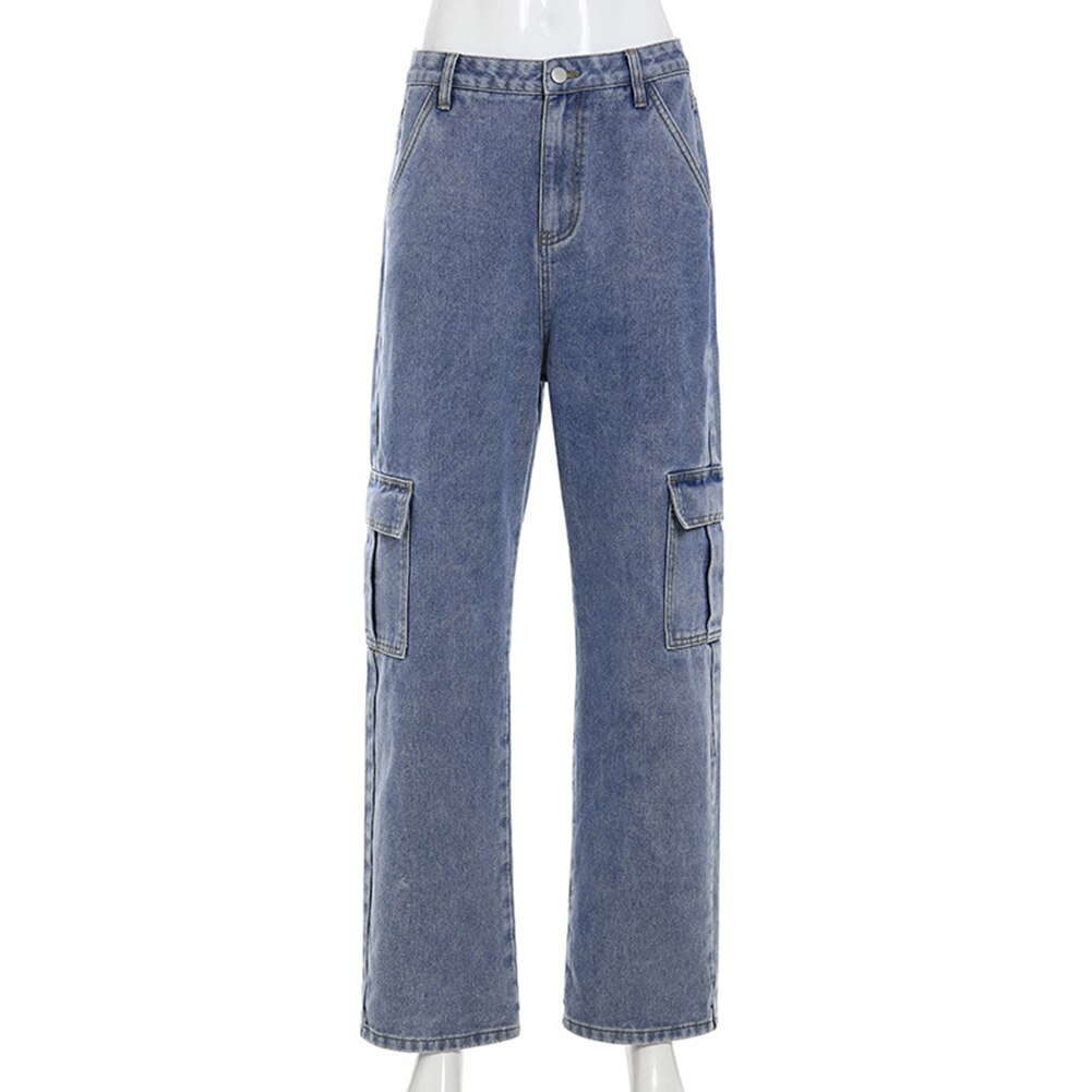 Pockets Patchwork High Waist Jeans Women Streetwear Straight Jean Femme Blue 100% Cotton Cargo Pants 2020 In Stock HX0421 3