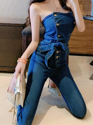 Denim Jumpsuits Overalls Girls Denims Playsuit Strapless