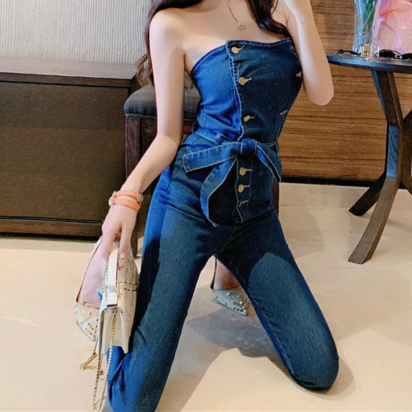 Off Shoulder Denim Jumpsuits Overalls Women Jeans Playsuit Strapless Pencil Pants Romper