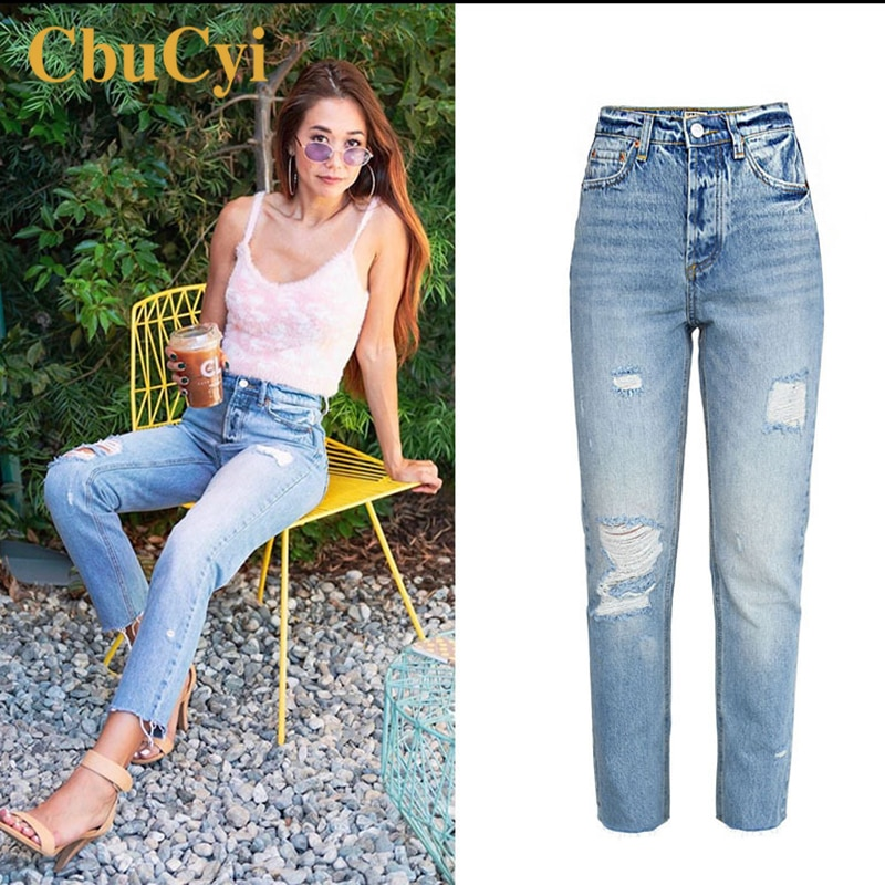 Women High Waist Jeans Pants Blue Soft Cotton Denim Pants Trousers Women Washed Ripped Hole Beggar Straight Jeans Cropped Pants 4