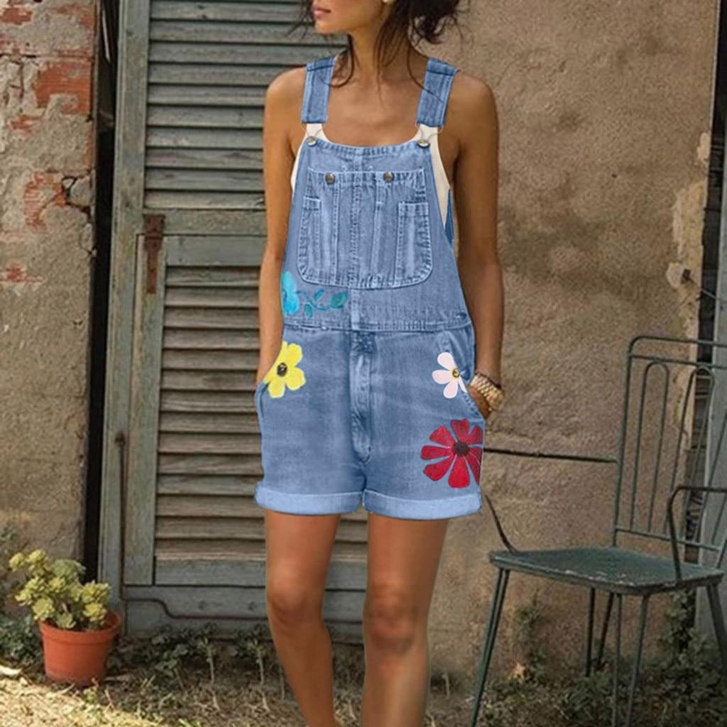 Womail Jumpsuits Women Summer Playsuit Denim Romper Overalls Oversized Jean Blue Sleeveless Denim short Jumpsuit Bodysuit 2020 2