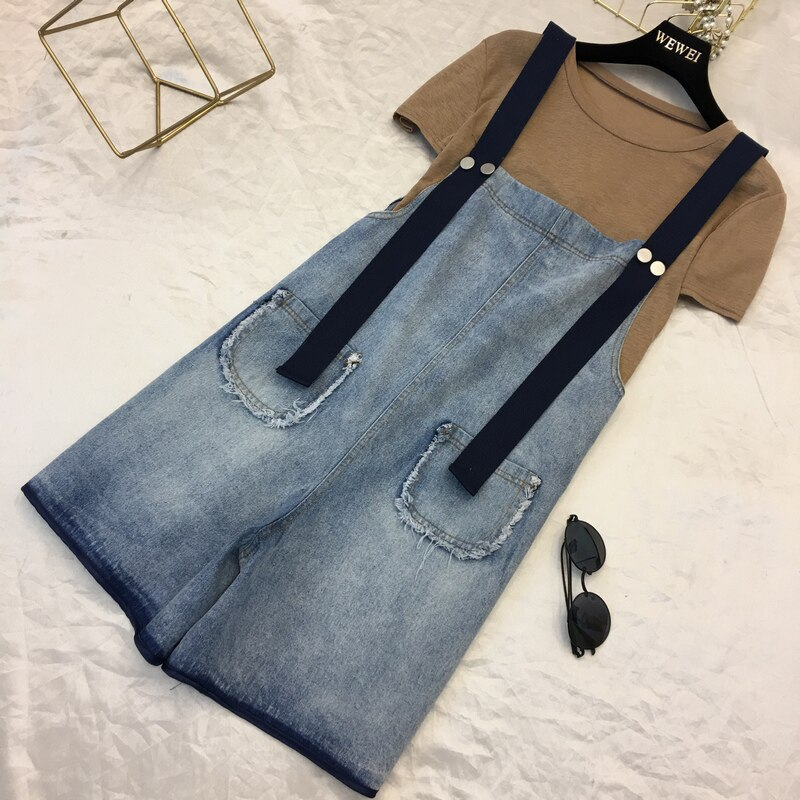 2019 New Women Denim Shorts Overalls Fashion Female Casual Loose Slim Pockets Straps Jeans High Waist Large Size 4XL 5XL M66 2