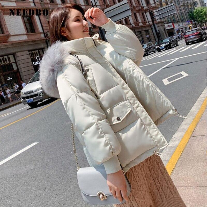NEEDBO Down Coat Winter Oversize Fur Collar Womens Down Jackets ultra Light women Down Jacket Hood Winter Jacket Coat Down 3