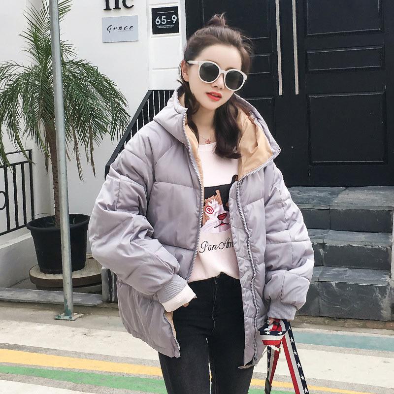 Women down coat 2020 new full zipper solid fashion cotton-padded women down jacket big hooded warm winter jacket women coat 3