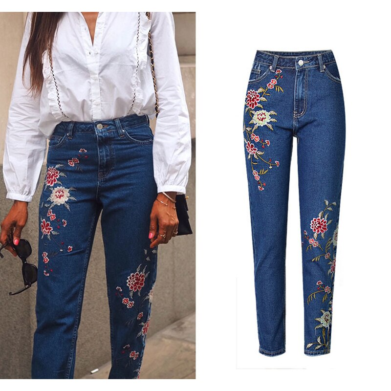 Hot Fashion Jeans Women's Clothing Straight Denim Jeans Pants 3D Floral Embroidery Pants High Waist Ladies Loose Jeans Trousers 2
