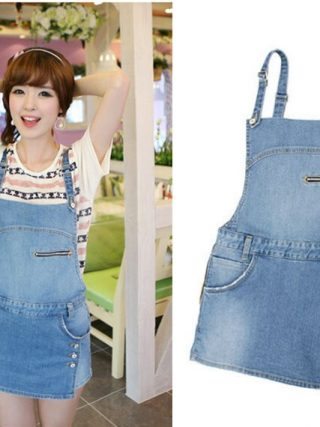 Ladies Denim zipper Type Jumpsuit Entrance Flap Pocket