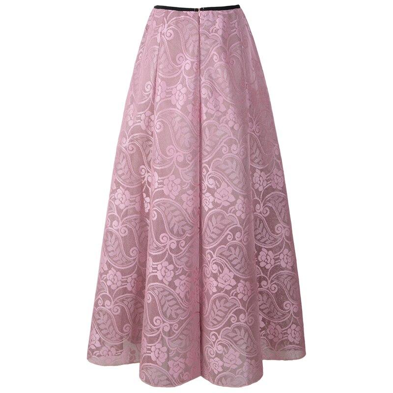 Neophil 2020 Vintage Ladies Floral Lace Mesh Women Long Skirts Muslim Maxi 100cm High Waist Pleated Print Boho Longa Saia MS1607 4