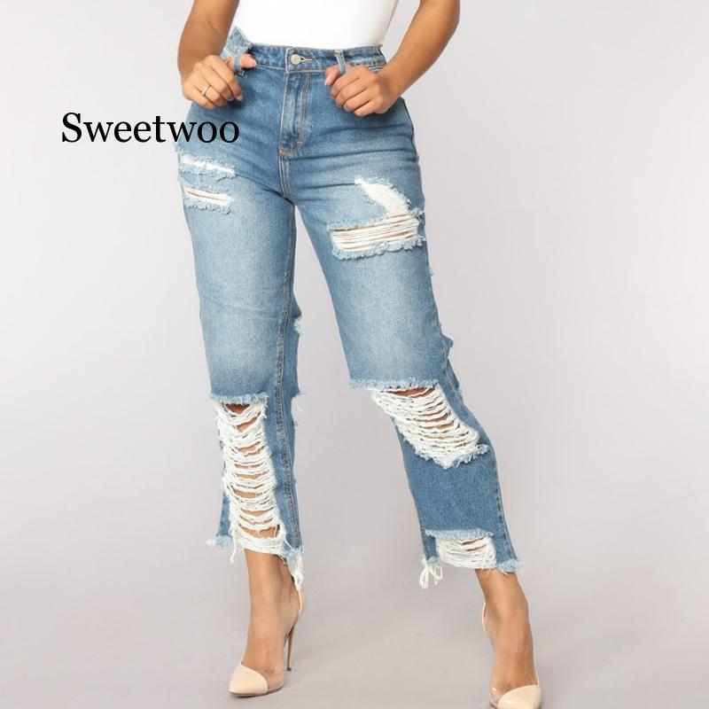 Sexy Back Hole Distressed Ripped Boyfriend Jeans For Women High Waisted Destroyed Jeans Street Rock Cut Out Loose Straight Jean 1