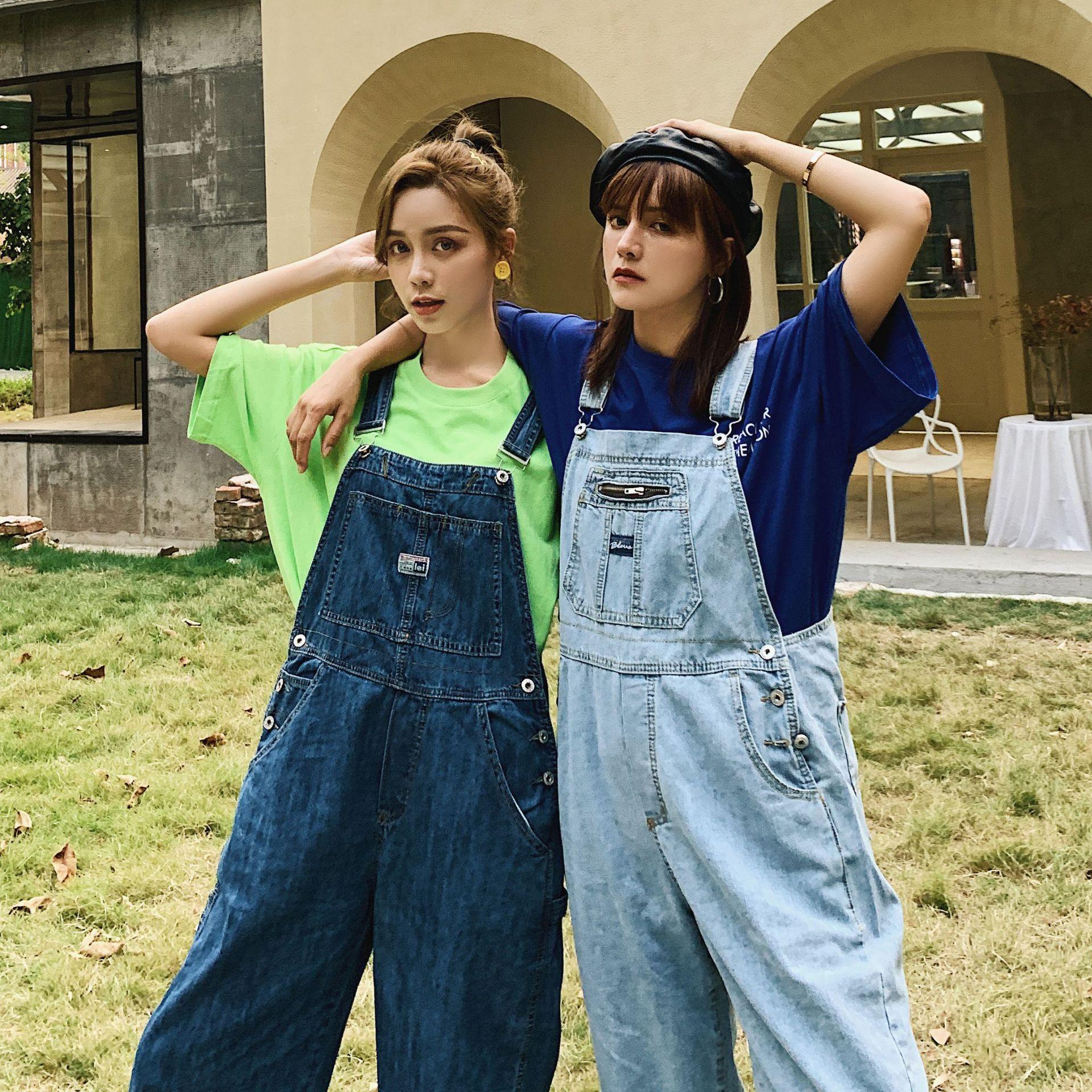 Korean Ladies Blue Loose Denim Overalls Jumpsuit Women Loose Spaghetti Strap Jeans Romper Retro Pocket Casual Female Denim Pants 1