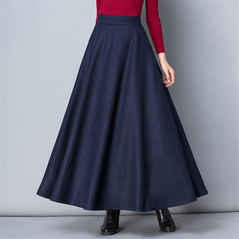 Winter Women Long Woolen Skirt Fashion High Waist Basic Wool Skirts Female Casual Thick Warm Elastic A-Line Maxi Skirts 3
